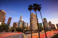 Downtown Los Angeles skyline during rush hour. At sunset Stock Photography