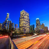 Downtown Los Angeles skyline during rush hour. At sunset Stock Photo