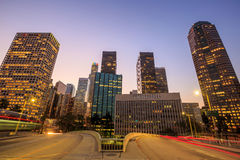 Downtown Los Angeles skyline during rush hour Royalty Free Stock Photos