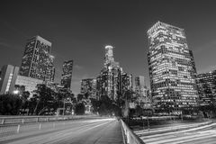 Downtown Los Angeles skyline during rush hour. At sunset black and white Royalty Free Stock Photo