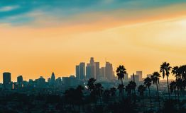 Downtown Los Angeles skyline at sunset. With palm trees in the foreground royalty free stock photography