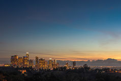 Downtown Los Angeles skyline sunset night evening Stock Photo