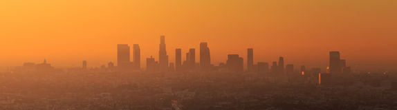 Downtown Los Angeles skyline. At twilight CA Stock Image