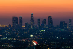 Downtown Los Angeles skyline at twilight. CA Stock Photo