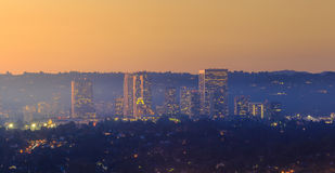 Downtown Los Angeles skyline. At twilight CA Stock Images