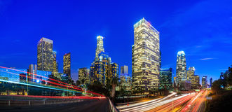 Downtown Los Angeles skyline. At twilight CA Royalty Free Stock Images