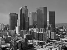 Stormy Sky Over Los Angeles Downtown in Black and White Royalty Free Stock Image