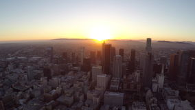 Downtown Los Angeles Sunset Aerial stock video