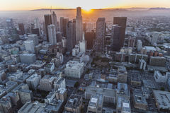 Downtown Los Angeles Sunset Aerial View Stock Photos