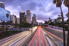 Downtown Los Angeles. At sunset with car light trails Royalty Free Stock Photos