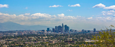 Downtown Los Angeles under a partly cloudy sky Stock Photography