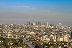 Downtown of Los Angeles viewed from the distance royalty free stock images