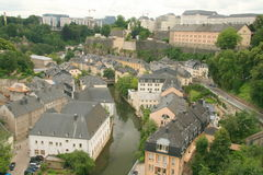 Downtown Luxembourg. With the historic centre and the financial buildings on the hills Stock Photo