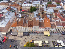 Downtown of Lviv, Ukraine. Historical downtown in Lviv, Ukraine; view from the highest point of the City Hall tower Royalty Free Stock Image