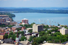 Downtown Madison, Wisconsin. Looking west over downtown Madison, Wisconsin. Includes the UW-Madison campus, Union Terrace, Picnic Point and Lake Mendota. Taken royalty free stock image