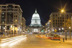 Downtown Madison, Wisconsin long exposure at night Royalty Free Stock Images