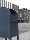 Downtown Mailbox. An old mailbox in a historic downtown Stock Photography