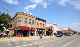 Downtown main street in Cody, Wyoming stock photography