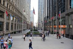 Downtown Mall and Plaza, Chicago, Illinois. Tourist and visitors to Chicago Illinois on a mall and plaza area in the downtown magnificent mile area of town royalty free stock images
