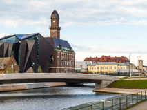 Downtown Malmo with old and modern buildings. By evening Stock Images