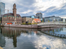 Downtown Malmo with old and modern buildings. By evening Royalty Free Stock Photography
