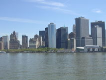 Downtown Manhattan. View of the Battery and Financial district fron the river royalty free stock image