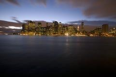 Downtown Manhattan. New York Skyline at dusk stock images