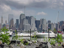 Downtown Manhattan. View from the Newport Marina Stock Image