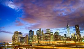 Downtown Manhattan as seen from Brooklyn Bridge at night Royalty Free Stock Photo