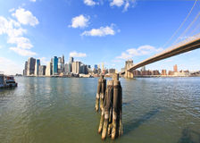 The downtown Manhattan and Brooklyn Bridge Stock Image