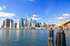 The downtown Manhattan and Brooklyn Bridge Stock Images