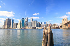 The downtown Manhattan and Brooklyn Bridge Royalty Free Stock Photography
