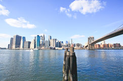 The downtown Manhattan and Brooklyn Bridge Royalty Free Stock Photos