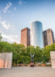 Downtown Manhattan buildings as seen from the street Royalty Free Stock Photos