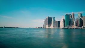 Downtown manhattan day light bay panorama 4k time lapse new york stock footage