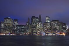 Downtown Manhattan at Night Stock Image