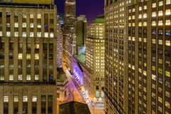 Downtown Manhattan at Night Stock Image