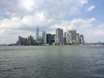 Downtown manhattan. Scenic skyline financial Stock Images