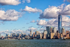 Downtown Manhattan. Shot from across Hudson river Royalty Free Stock Photos