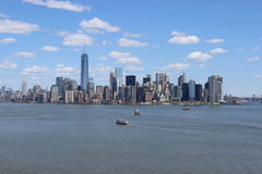 Downtown Manhattan skyline. As seen from the statue of liberty on liberty island. New York City Stock Photos
