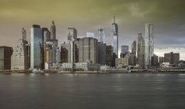 Downtown Manhattan Skyline from the Brooklyn Bridge Park Royalty Free Stock Image