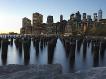 Downtown Manhattan Skyline from the Brooklyn Bridge Park Stock Photography
