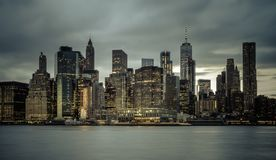 Downtown Manhattan Skyline from the Brooklyn Bridge Park Stock Image