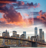 Downtown Manhattan skyline at dusk, New York City - NY - USA Stock Photos