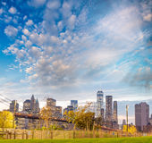 Downtown Manhattan skyline at dusk, New York City - NY - USA Royalty Free Stock Photo