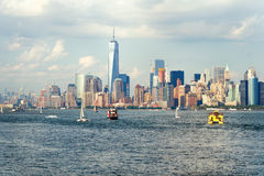 The downtown Manhattan skyline seen from the ocean Stock Photography