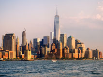 The downtown Manhattan skyline at sunset Stock Images