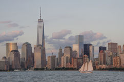 Downtown Manhattan Skyline. A view of the Manhattan skyline from the Hudson River Stock Photography