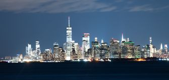 Downtown Manhattan Urban City Skyline Night View Hudson River stock photography
