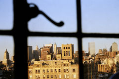 Manhattan Window View. Downtown Manhattan through the window of the penthouse in 1 Christopher Street Royalty Free Stock Photography